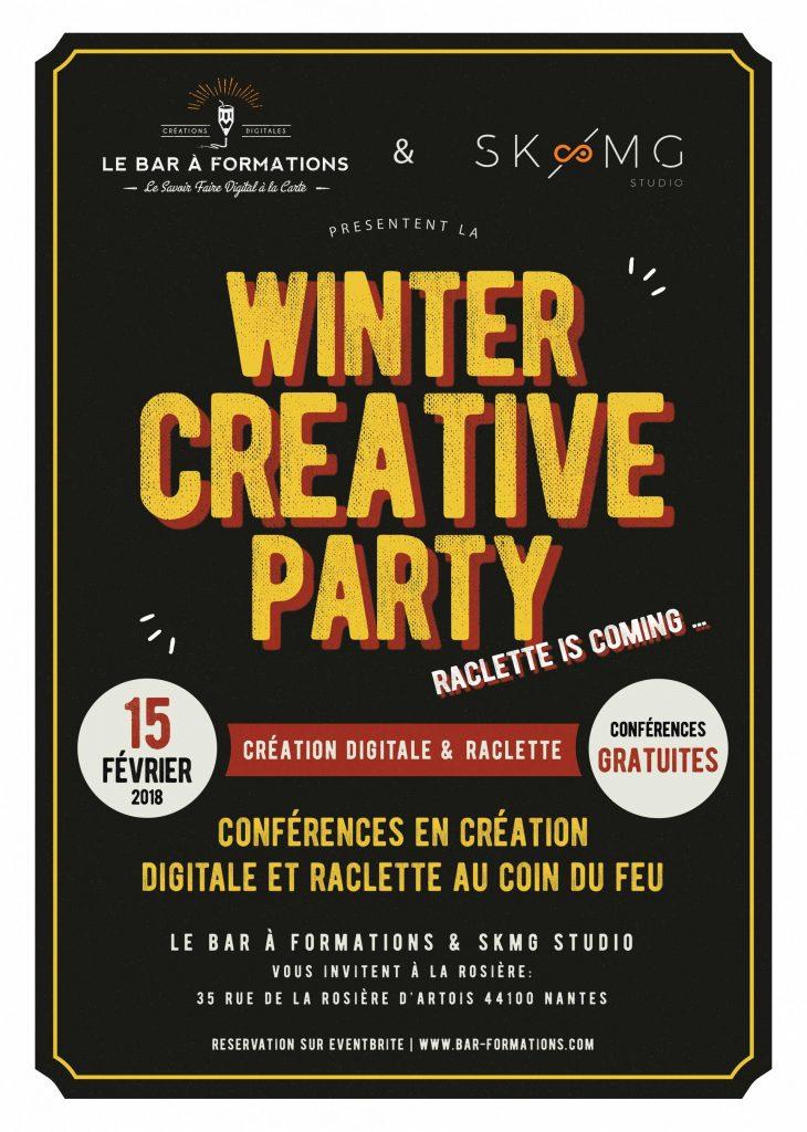 Flyer-winter creative party à nantes, en web, créations digitales et formation